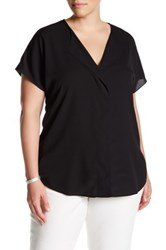14Th And Union Short Sleeve V Neck Blouse Plus Size Black
