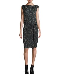 Isabel Marant Floral Stretch Silk Gathered Drop Waist Dress Black