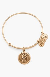 Women's Alex And Ani 'Initial' Adjustable Wire Bangle G Russian Gold