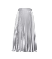 Christopher Kane Embellished Metallic Pleated Skirt Silver