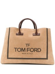 Tom Ford Oversized Logo Tote Neutrals