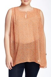Daniel Rainn Sleeveless A Line Printed Blouse Plus Size Orange