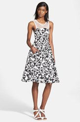 Women's Tracy Reese Mesh Yoke Print Fit And Flare Dress