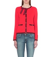 Claudie Pierlot Maxypunk Knitted Cashmere And Wool Cardigan Coquelicot