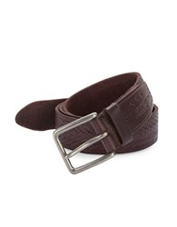 John Varvatos Herringbone Textured Leather Belt Brown
