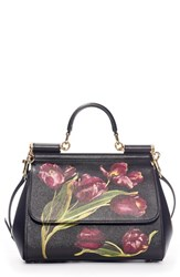 Dolce And Gabbana 'Small Miss Sicily' Tulip Print Leather Satchel