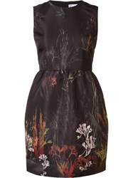 Red Valentino Coral Print Dress Black