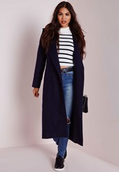 Missguided Oversized Wool Coat Navy Blue