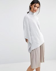 Oasis High Neck Knitted Poncho Grey