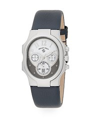 Philip Stein Teslar Classic Chronograph Stainless Steel And Leather Watch Navy