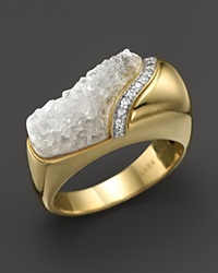 Kara Ross 18K Yellow Gold And Diamond Wide Hydra Stacking Ring With Raw White Quartz Gold White