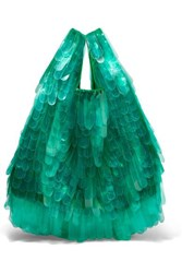 Dries Van Noten Pvc Embellished Tulle And Canvas Tote Green