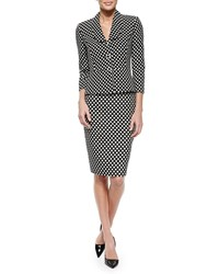 Albert Nipon Polka Dot Peplum Jacket And Skirt Suit Set Black White