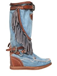 El Vaquero 70Mm Joplin Denim And Leather Wedge Boots