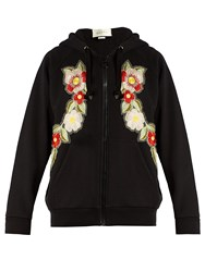 Gucci Floral Embroidered Hooded Cotton Sweatshirt Black