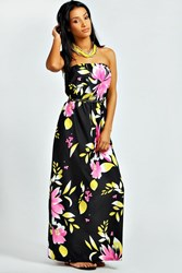 Boohoo Large Fluro Flower Maxi Dress Black