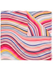 Paul Smith Striped Scarf Pink And Purple