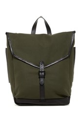 Cole Haan Waxed Canvas And Leather Messenger Backpack Green