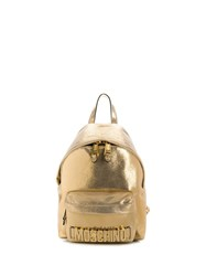 Moschino Crystal Embellished Logo Backpack Gold