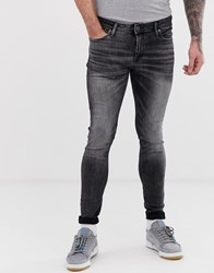 Jack And Jones Spray On Skinny Jeans In Washed Black