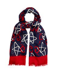 Guccighost Print Scarf Navy Multi