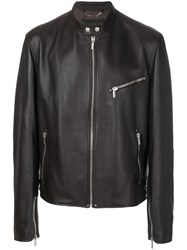 Versace Zip Jacket Cotton Lamb Skin Polyester Cupro Brown