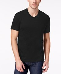 Club Room Men's Solid V Neck T Shirt Created For Macy's Deep Black