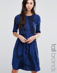Y.A.S Tall Elisa Dress In Marble Print Print Blue