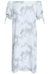 Charli Off The Shoulder Cutout Printed Crepe De Chine Dress Off White Off White