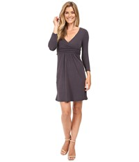 Mod O Doc Cotton Modal Spandex Jersey Surplice Banded Empire Dress Dark Nickel Women's Dress Metallic