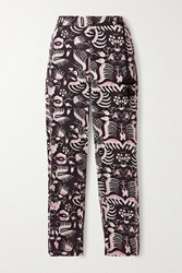Figue Zulu Printed Cotton Twill Tapered Pants Black