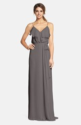 Women's Nouvelle Amsale Ruffle Front Chiffon Gown Grey