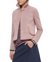 Akris Punto Heathered Jersey Doll Collar Jacket Coral