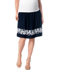 A Pea In The Pod Maternity Embroidered A Line Skirt Navy