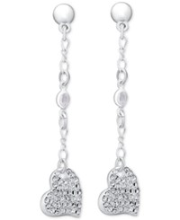 Guess Silver Tone Pave Heart Dangle Drop Earrings