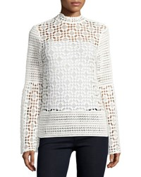 Neiman Marcus Long Sleeve Crochet Lace Blouse White