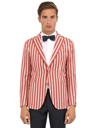 Tagliatore Striped Cotton Jacquard Jacket Ivory Red