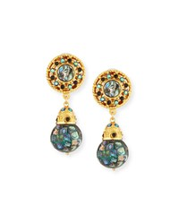 Jose And Maria Barrera Abalone Crystal Clip On Drop Earrings