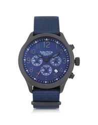 Nautica Black Matte Stainless Steel Dial And Navy Blue Fabric Strap Men's Watch