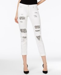 Michael Kors Ripped White Wash Capri Jeans
