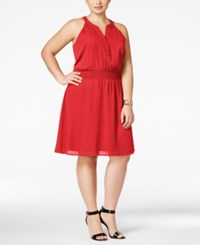 Love Squared Trendy Plus Size Cutout Back Henley Dress Red
