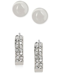 Touch Of Silver Stud And Hoop Earring Set In Silver Plating