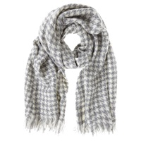 Mint Velvet Houndstooth Scarf Grey Cream