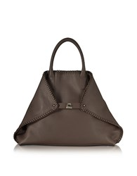 Akris Ai Medium Mocca Leather Tote W Woven Edge Dark Brown