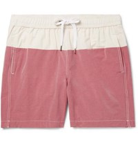 Onia Charles Mid Length Colour Block Cotton Blend Swim Shorts Pink