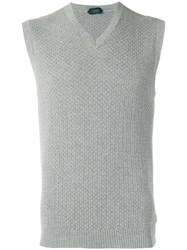 Zanone V Neck Sleeveless Jumper Grey
