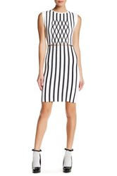 Opening Ceremony Piped Argyle Two Tone Bodycon Dress White