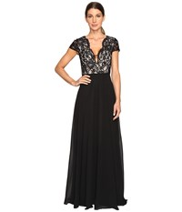 Aidan Mattox Lace And Chiffon Gown Black Nude Women's Dress Multi