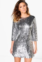 Boohoo Lucie Sequin 3 4 Sleeve Shift Dress Silver