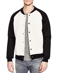 Scotch And Soda Pique Knit Bomber Jacket White Black